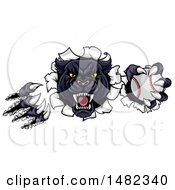 Clipart Of A Vicious Roaring Black Panther Mascot Shredding Through A Wall With A Baseball Royalty Free Vector Illustration by AtStockIllustration