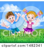 Cartoon Happy Excited Caucasian Boy And Girl Jumping Outdoors