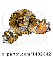 Poster, Art Print Of Tough Clawed Male Lion Monster Mascot Holding A Basketball