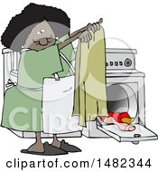Cartoon Happy Black Woman Doing Laundry