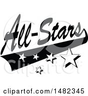 Clipart Of A Black And White Sports All Stars Design With A Swoosh And Stars Royalty Free Vector Illustration by Johnny Sajem