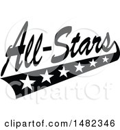 Clipart Of A Black And White Sports All Stars Design With A Swoosh Of Stars Royalty Free Vector Illustration by Johnny Sajem