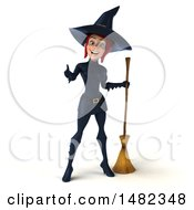 3d Sexy Blue Witch Giving A Thumb Up On A White Background