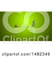 Clipart Of A 3d Man Chained To A Ball Royalty Free Illustration