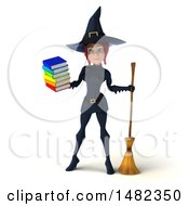 3d Sexy Blue Witch Holding A Stack Of Books On A White Background