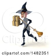 3d Sexy Blue Witch Holding Boxes On A White Background