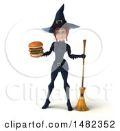 3d Sexy Blue Witch Holding A Burger On A White Background