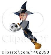 3d Sexy Blue Witch Holding A Soccer Ball On A White Background