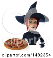 3d Sexy Blue Witch Holding A Pizza On A White Background