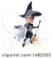 3d Sexy Blue Witch Holding A Tooth On A White Background