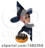 3d Sexy Blue Witch Holding A Donut On A White Background