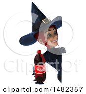 3d Sexy Blue Witch Holding A Soda On A White Background