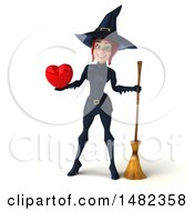 3d Sexy Blue Witch Holding A Heart On A White Background