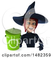3d Sexy Blue Witch Holding A Recycle Bin On A White Background