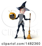 3d Sexy Blue Witch Holding A Tv On A White Background