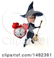 3d Sexy Blue Witch Holding An Alarm Clock On A White Background