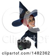 3d Sexy Blue Witch Holding A Camera On A White Background