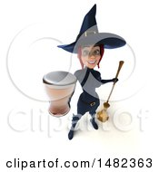 3d Sexy Blue Witch Holding A Beer On A White Background