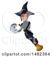 Clipart Of A 3d Sexy Blue Witch Holding A Euro Symbol On A White Background Royalty Free Illustration
