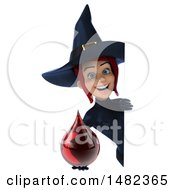 3d Sexy Blue Witch Holding A Blood Drop On A White Background