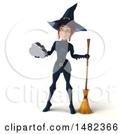 3d Sexy Blue Witch Holding A Cloud On A White Background