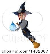 3d Sexy Blue Witch Holding A Water Drop On A White Background