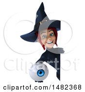 3d Sexy Blue Witch Holding An Eyeball On A White Background