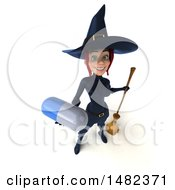 3d Sexy Blue Witch Holding A Pill On A White Background