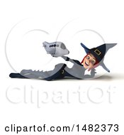 3d Sexy Blue Witch Holding A Plane On A White Background