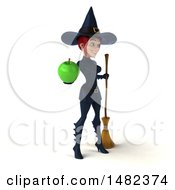 3d Sexy Blue Witch Holding An Apple On A White Background