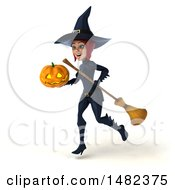 Clipart Of A 3d Sexy Blue Witch Holding A Jackolantern On A White Background Royalty Free Illustration
