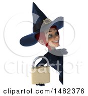 3d Sexy Blue Witch Holding A Padlock On A White Background