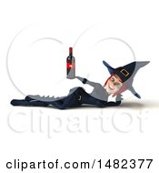 3d Sexy Blue Witch Holding A Wine Bottle On A White Background