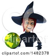 3d Sexy Blue Witch Holding A Globe On A White Background