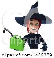 3d Sexy Blue Witch Holding A Gas Can On A White Background
