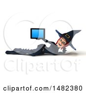 3d Sexy Blue Witch Holding A Tablet Computer On A White Background