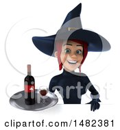 3d Sexy Blue Witch Holding A Wine Tray On A White Background