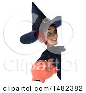 3d Sexy Blue Witch Holding A Piggy Bank On A White Background