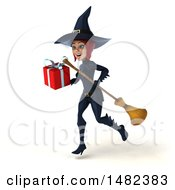 3d Sexy Blue Witch Holding A Gift On A White Background