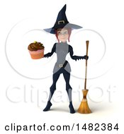 3d Sexy Blue Witch Holding A Cupcake On A White Background