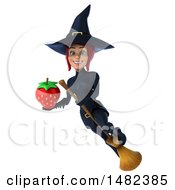 3d Sexy Blue Witch Holding A Strawberry On A White Background