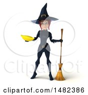 Clipart Of A 3d Sexy Blue Witch Holding A Banana On A White Background Royalty Free Illustration