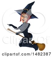 Clipart Of A 3d Sexy Blue Witch Flying On A White Background Royalty Free Illustration