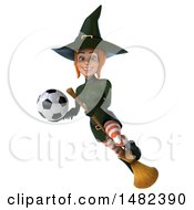 Clipart Of A 3d Sexy Green Witch Holding A Soccer Ball On A White Background Royalty Free Illustration