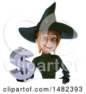 Clipart Of A 3d Sexy Green Witch Holding A Dollar Symbol On A White Background Royalty Free Illustration