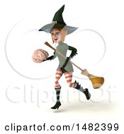 Clipart Of A 3d Sexy Green Witch Holding A Brain On A White Background Royalty Free Illustration