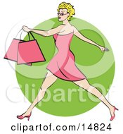 Pretty Blond Woman With Short Hair Taking Long Strides And Carrying Shopping Bags Clipart Illustration