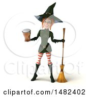 Clipart Of A 3d Sexy Green Witch Holding A Beer On A White Background Royalty Free Illustration