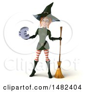 Clipart Of A 3d Sexy Green Witch Holding A Euro Symbol On A White Background Royalty Free Illustration