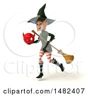 Clipart Of A 3d Sexy Green Witch Holding A Devil Head On A White Background Royalty Free Illustration